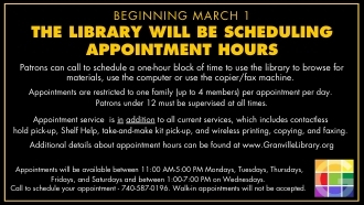 Beginning March 1 - Appointment Hours